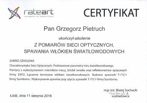 Certyfikat 1 RATEART Grzegorz Pietruch