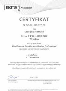 Certyfikat instalatora Digitus Grzegorz Pietruch